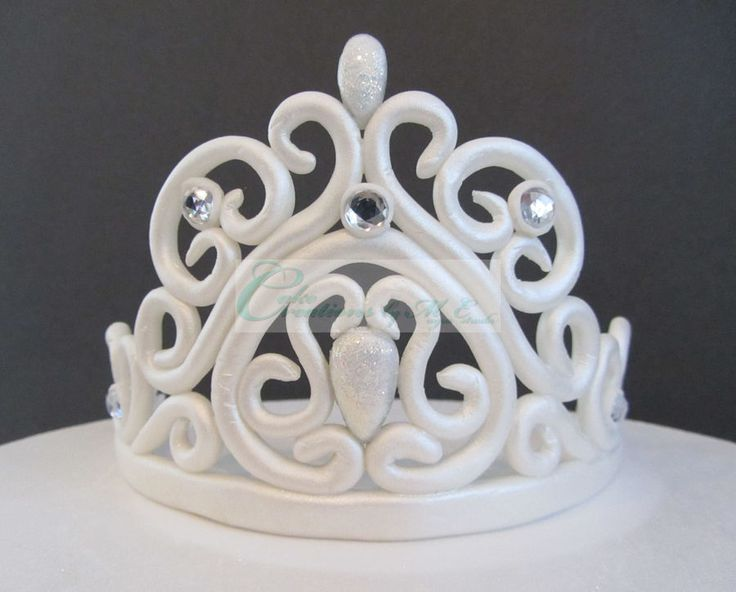 """My 1st Tiara.  Made out of fondant.  It measures 4"""" high and 10"""" from  one end to the other on the base.  I posted the template I ..."""