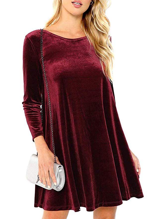 21c2112dc54 Verdusa Women s Velvet Swing Dress Long Sleeve Shift Tunic Dress Burgundy XS