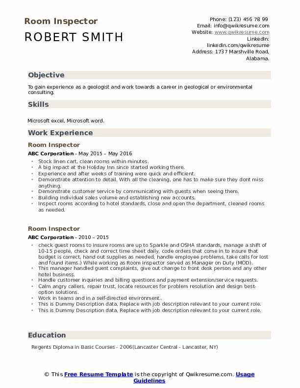 Room Inspector Resume Samples In 2020 Cover Letter For Resume Resume Design Resume