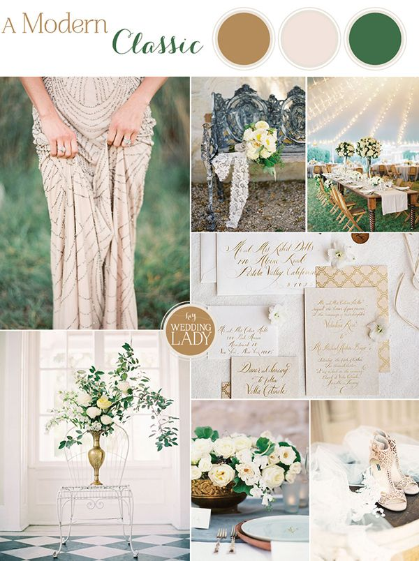 Modern Classic Wedding Inspiration with Chic California Style in Neutral Shades of Taupe and Bronze with Fresh Green | Inspired by Wedding in Weeks