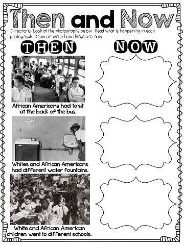 Then and Now activity...awesome to use when learning about MLK!