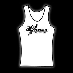 MRA Womens White Tank    Shawn Michaels' MacMillan River Adventures Signature Women's Tank White with Black MRA Hunting Logo on the front.