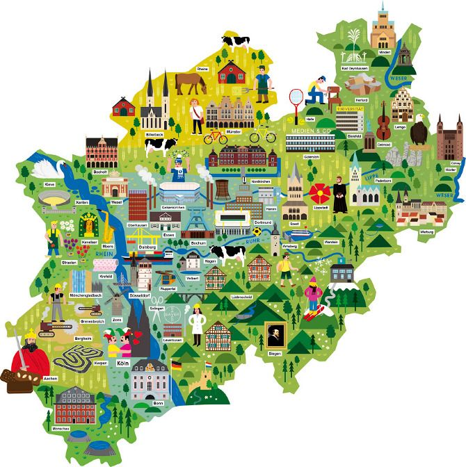 "Am map of the german state North Rhine-Westphalia showing all bigger cities   and the most famous buildings, places, events, product and traditions of this city.   Done for the german weekly ""Die Zeit""."