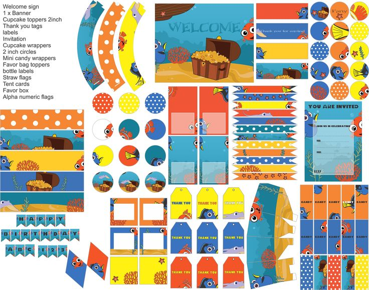 Finding Nemo party printables, Finding Nemo decorations, everything you need for your Finding Nemo party