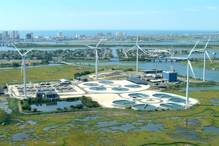 ACUA's wind farm in Atlantic City, NJ - aerial view - Learn more about our wind farm.