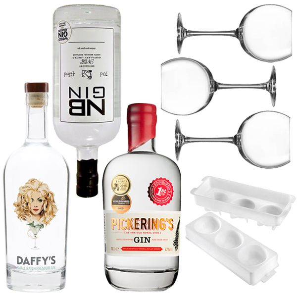 <strong>Scottish Craft Gin Lovers Cocktail Set</strong> -The ultimate gift for the gin lover in your life! We have hand-picked the finest Scottish Gins for you to taste and samples and enjoy in our beautiful Juniper gin glasses.  1 xDaffy's Gin 70cl  1 xPickerings 1947 Gin 70cl  1 x North Berwick Gin 70cl  3 x Juniper Gin Glasses  1 x Japanese Circular Ice Mold