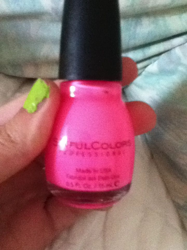 Neon pink sinful colors nail polish