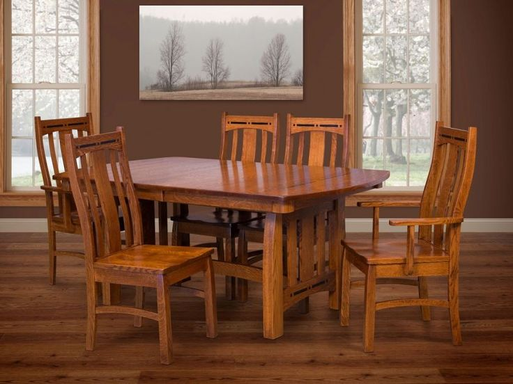 Our Hot Springs Craftsman Dining Set honors the talents of the Amish artisans with exacting detail, rich hardwoods, inlays, and a hand-rubbed finish.