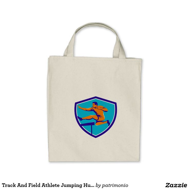 Track And Field Athlete Jumping Hurdle Tote Bag. Illustration of a track and field athlete running jumping the hurdles viewed from side set inside shield crest done in retro style. #trackandfield #olympics #sports #summergames #rio2016 #olympics2016