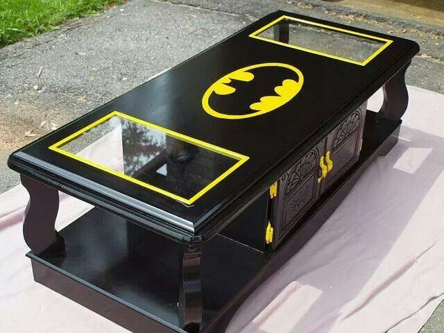 Batman coffee table for a comic/superhero themed game room