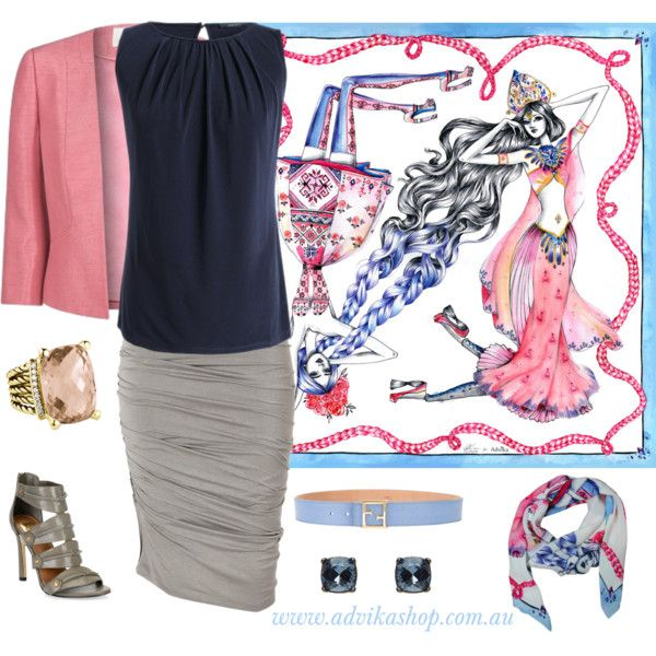 """""""Desk to dinner"""" by Advika on Polyvore. Featuring 'Entangled' pure silk scarf, $89 from http://www.advikashop.com.au/shop/item/entangled"""