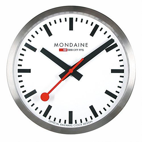Mondaine iconic Swiss railway wall clock. The movement has the usual ticking second hand.