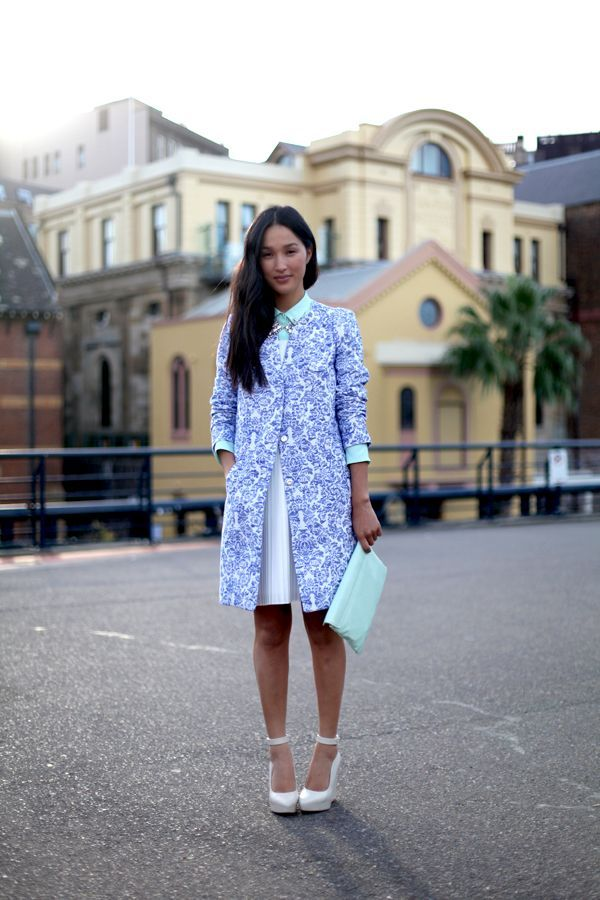 serenity blue clutch with printed coat