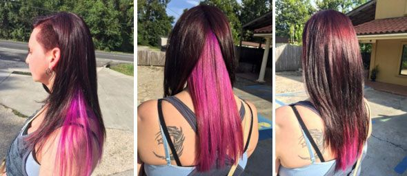 Chocolate Brown Hair with Pink Underneath - Hair Colors Ideas