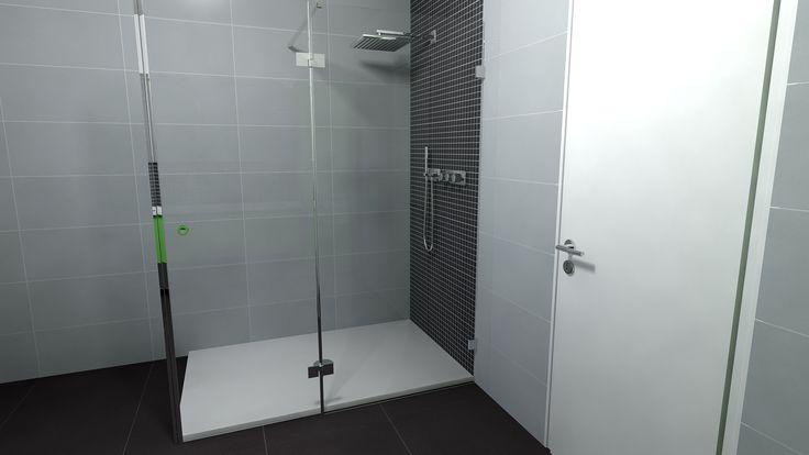 Strakke badkamer met in de douche een leuke accentwand.