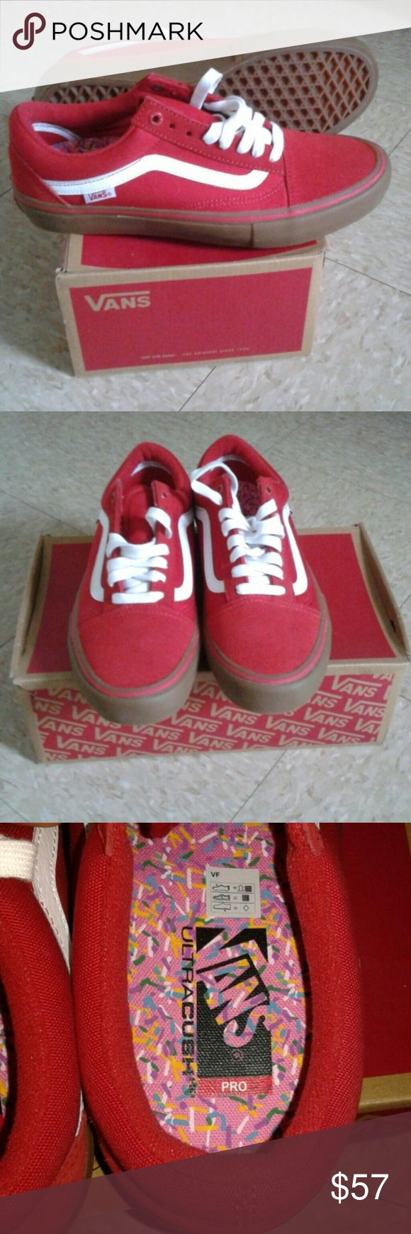 New Vans Red Old Skool Pro Gumsole Shoes Sz 8 Hi, for sale are a new pair of red old skool pro shoes by Vans in a size 8 in mens. Please feel free to ask me anything thank you and enjoy. Vans Shoes