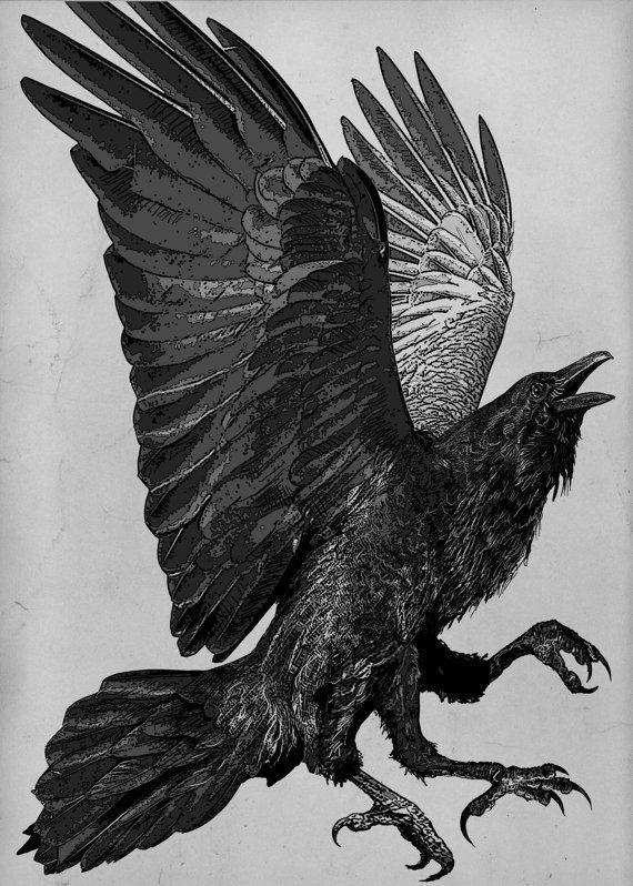 Raven (raven, phoenix, crow) Series. The Three Legged Birds- Sanzuwu, Yatagarasu, and Samjok-o Aquatint -   via Etsy, by Larry Vienneau Jr
