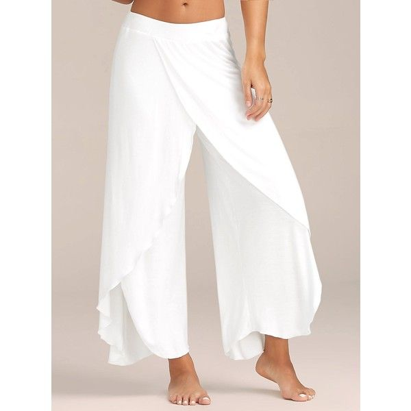 Flowy Layered High Waisted Slit Palazzo Pants ($12) ❤ liked on Polyvore featuring pants, highwaist pants, white pants, palazzo trousers, high-waist trousers and white high waisted trousers