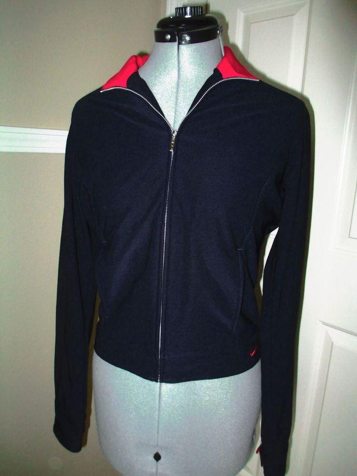Nike Warm Up Jacket Navy Blue Women's Medium Zip up #Nike #Jacket