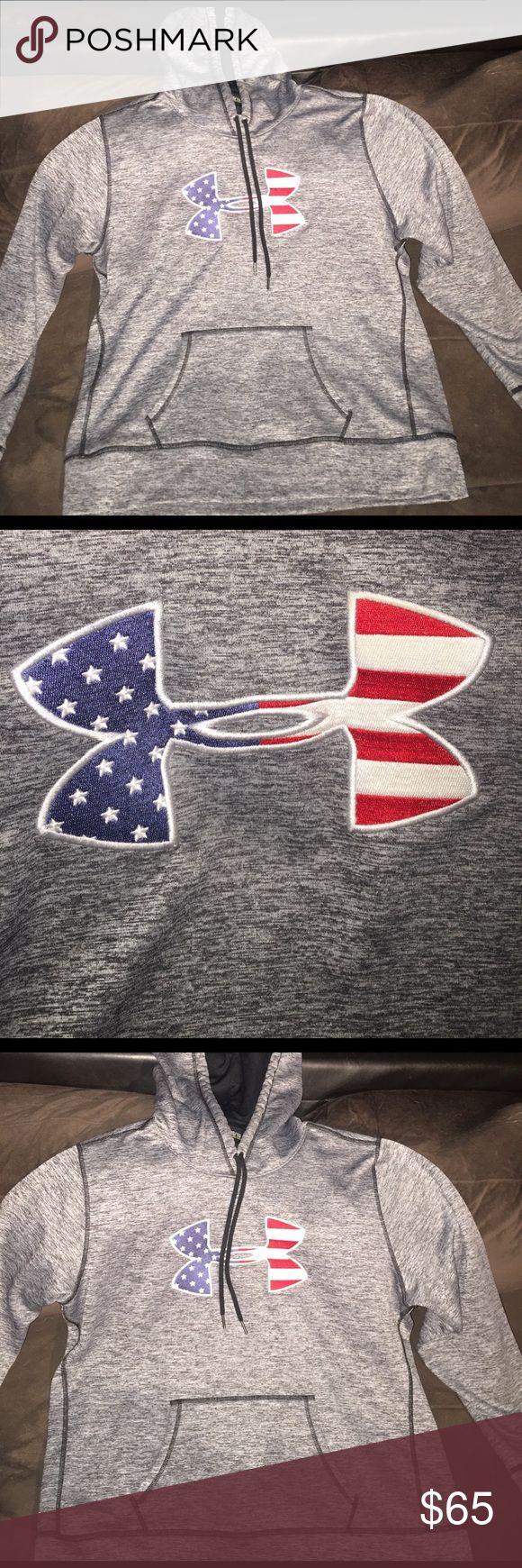 Woman's Under Armour Sweatshirt American Flag Logo Under Armour Gray  Red White & Blue American Flag Logo Sweatshirt. Brand New worn inside 2 times Under Armour Tops Sweatshirts & Hoodies