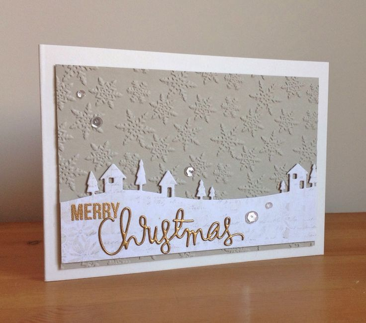 Beth's Little Card Blog: Neutral Christmas card set (Memory Box Country Landscape die, SSS Merry Christmas die)