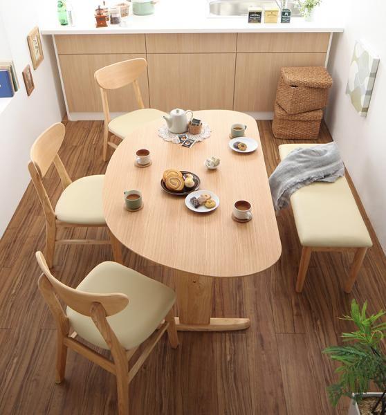 天然木半円テーブルダイニング 【Lune】リュヌ 5点セットB(テーブル+チェア3脚+ベンチ1脚) W135の画像