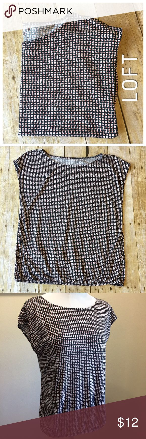 """LOFT Petite Tee Mini Circles Print Short sleeve Great tee for work or every day wear. Very versatile. 23"""" long. Great condition, smoke free home, no pilling. 18.5"""" armpit to armpit. Machine wash rayon/tencel blend. Ann Taylor LOFT LOFT Tops Blouses"""