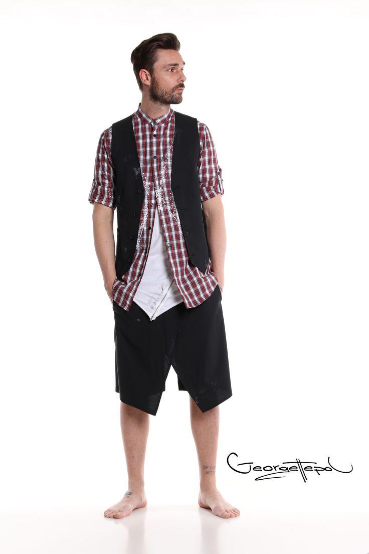 Vest black canvas - Plaid shirt red - Long white t-shirt - Bermuda black canvas #bermuda #canvas #fashion #man #painted #summer #vest #plaidshirt #black #iammyself #tshirt #white #black #style #georgettepol