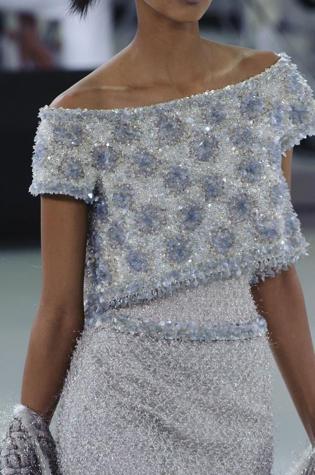 Off the shoulder top with a high waisted skirt - even more spectacular beaded! Chanel Haute Couture * SS 2014