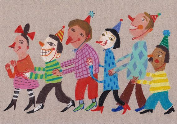 """""""Birthday Party""""another pastel/colored pencil original by Tali Yalonetzki in her Tosya etsy shop"""