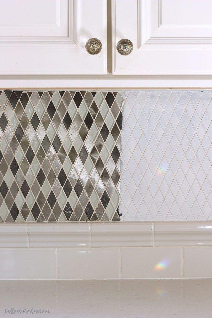 Tips Tricks To An Easily Painted Tile Backsplash Hello Central Avenue Kitchen Backsplash Tile Diy Painting Kitchen Tiles Painting Tile Backsplash