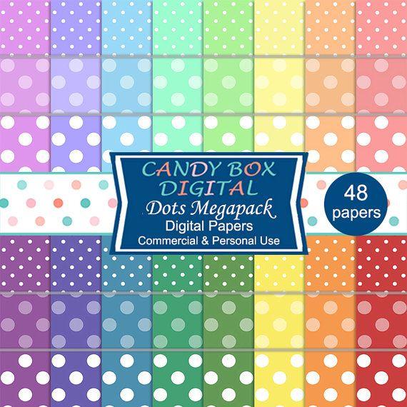 Rainbow Dot Digital Paper Megapack  Commercial Use OK