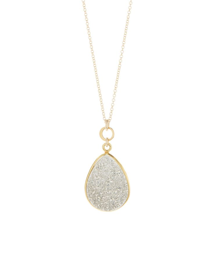 This Silvertone Druzy & Gold Teardrop Pendant Necklace by Athena Designs is perfect! #zulilyfinds