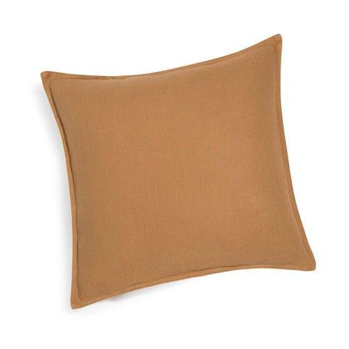 Kissen aus grobem Leinen, 45x45 cm, fuchsorange