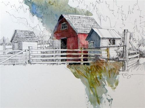 """Outbuildings"" - Original Fine Art for Sale - © Paula Ensign"