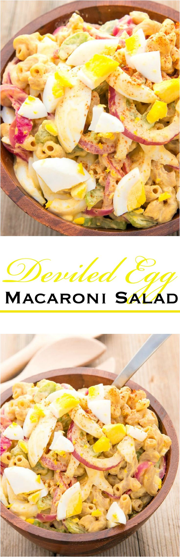 """Don't be fooled by the """"devil,"""" Deviled Egg Macaroni Salad lets you enjoy two yummy foods in one."""