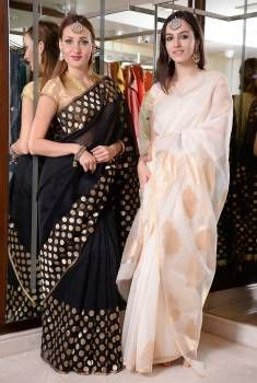 Collections- the deadly black and white Chanderi sarees.