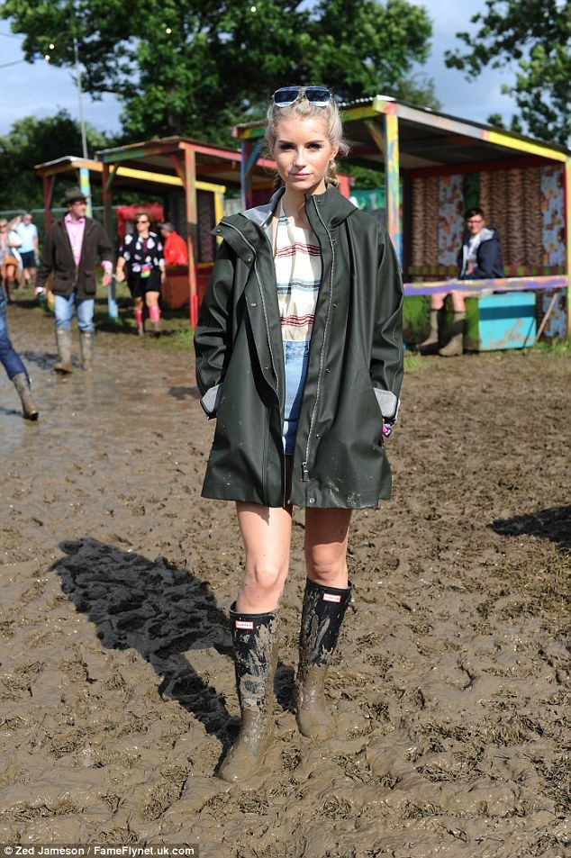 Representing the modelling Moss': Lottie Moss has hit one of her supermodel sister Kate's favourite places this weekend - Glastonbury music festival