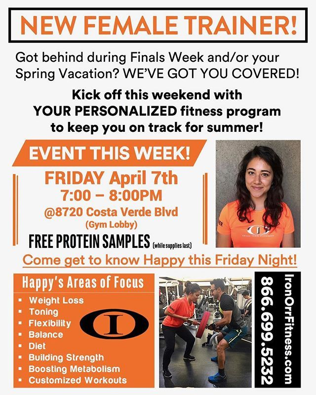 EVENT FRIDAY! Come meet our NEW TRAINER HAPPY and get FREE Protein Samples!! . . Let us help YOU kickstart this weekend with YOUR PERSONALIZED fitness program! Start with YOUR complimentary consultation, Call TODAY: 866.699.5232, swing by the gym to schedule a time or visit our website (link at the top of our Instagram page) #lajollalocals #sandiegoconnection #sdlocals - posted by Iron Orr Fitness  https://www.instagram.com/ironorrfitness. See more post on La Jolla at…