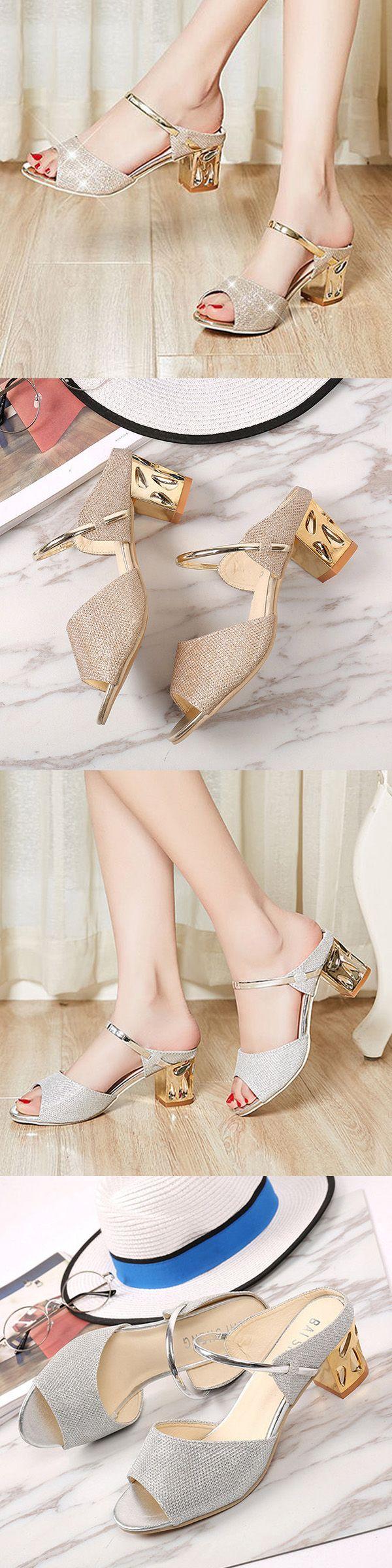 US$15.05 Shiny Peep Toe Metal Block Sandals For Women_Golden Elegant Sandals_Silver Sandals Heels