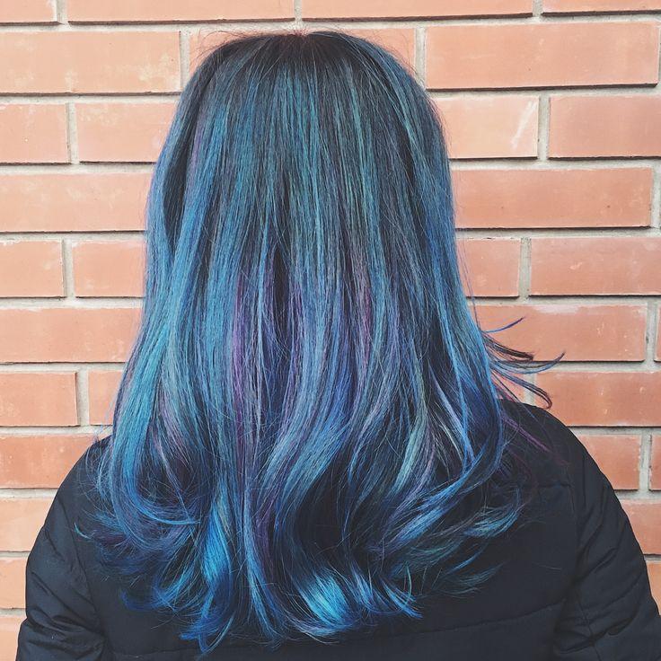 Синие волосы, цветные волосы, цветное окрашивание волос, краска Cutrin