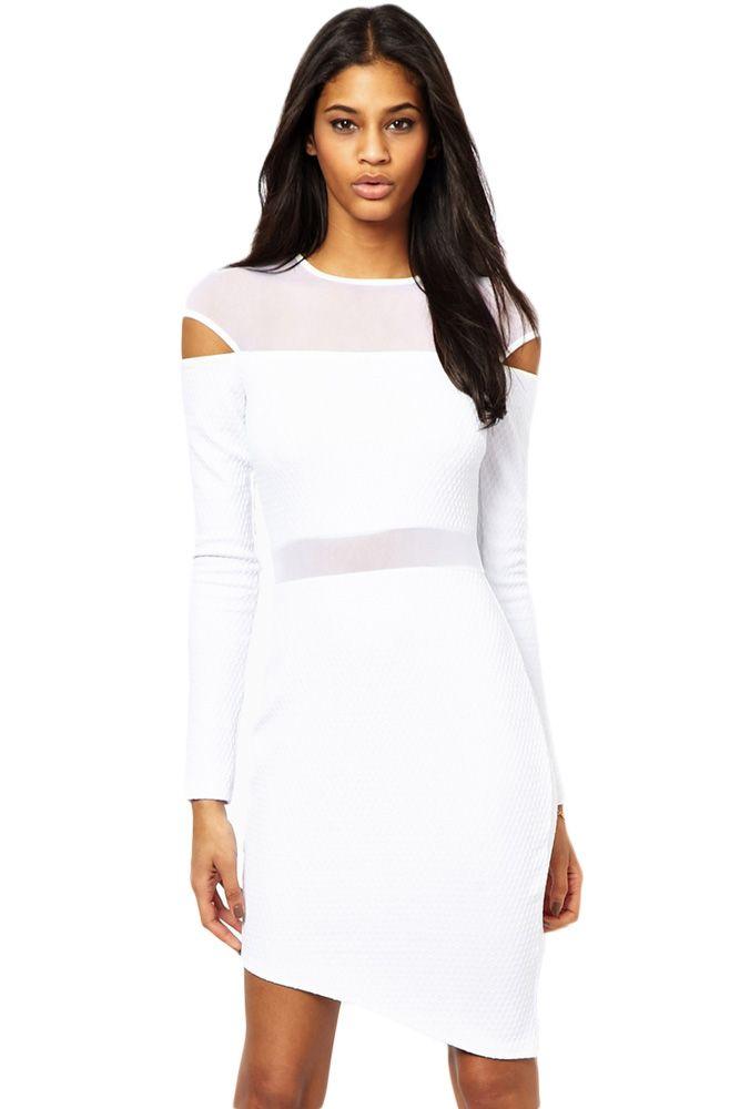 White Bias Skirt Mesh Spliced Bodycon Dress( 1-L )NHDL1501