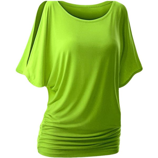 Womens Sexy Crewneck Cold Shoulder Batwing Sleeve T Shirt Green (£7.43) ❤ liked on Polyvore featuring tops, green, crew shirt, shirt top, cold shoulder tops, cut out shoulder top and sexy green shirt