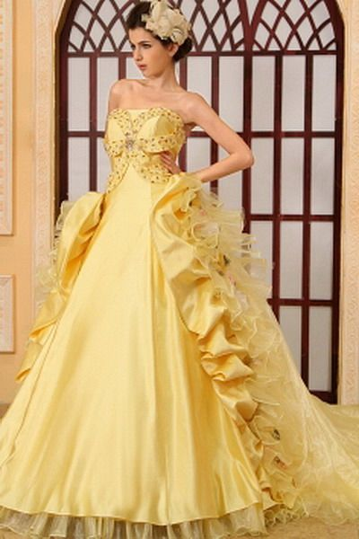Organza Yellow Luxury prom Dress - Order Link: http://www.thebridalgowns.com/organza-yellow-luxury-prom-dress-tbg7532 - SILHOUETTE: Ball Gown; SLEEVE: Sleeveless; LENGTH: Chapel Train; FABRIC: Organza; EMBELLISHMENTS: Crystal , Flower , Ruffles - Price: 176USD