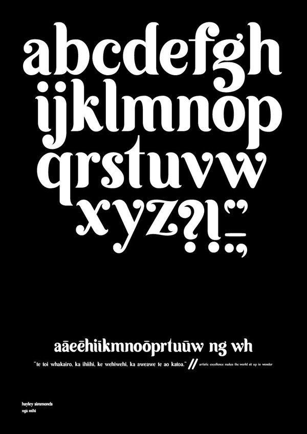 Ngā Mihi Typeface by Hayley Aroha, via Behance