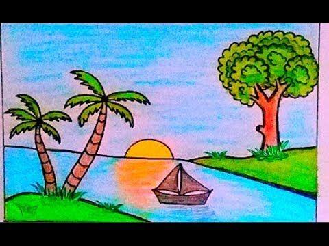 رسم منظر طبيعي سهل جدا لغروب الشمس بالألوان الخشبية خطوة بخطوة للمبتدئين رسم سهل Art Drawings For Kids Art Class Decoration