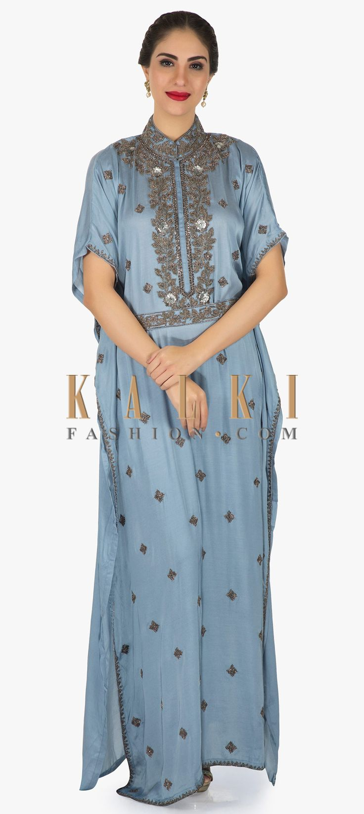 Buy Online from the link below. We ship worldwide (Free Shipping over US$100)  Click Anywhere to Tag Long kaftans dress blue grey in silk with embroidered chinese collar only on Kalki Long kaftans dress in grey blue featuring in silk. Placket is embellished in zardosi and cut dana work. Its matched with fancy embroidered belt. It comes with chinese collar.