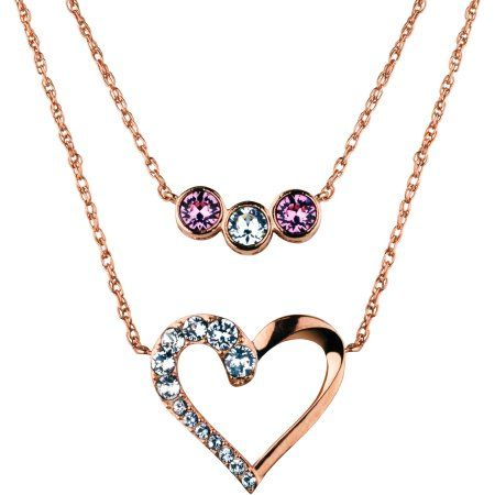 fe39a1e8a Truly Inspired Swarovski Crystal Fine Silver Plated/14kt Rose Gold Flash  Open Heart/Multi Setting Duo Necklaces