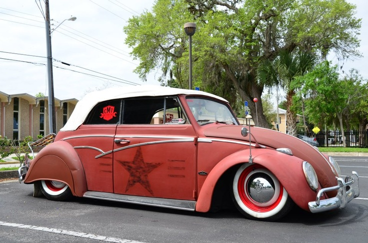 VW red Beetle Convertible Painted Star White wall tires | Das Vintage VW Beetle's | Pinterest ...