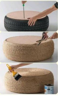 Make your own ottoman! Really simple. Just from an old tire.